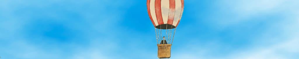 Een directeur in de luchtballon komt dichterbij, nog wel met het hoofd in de wolken maar dichter bij de grond