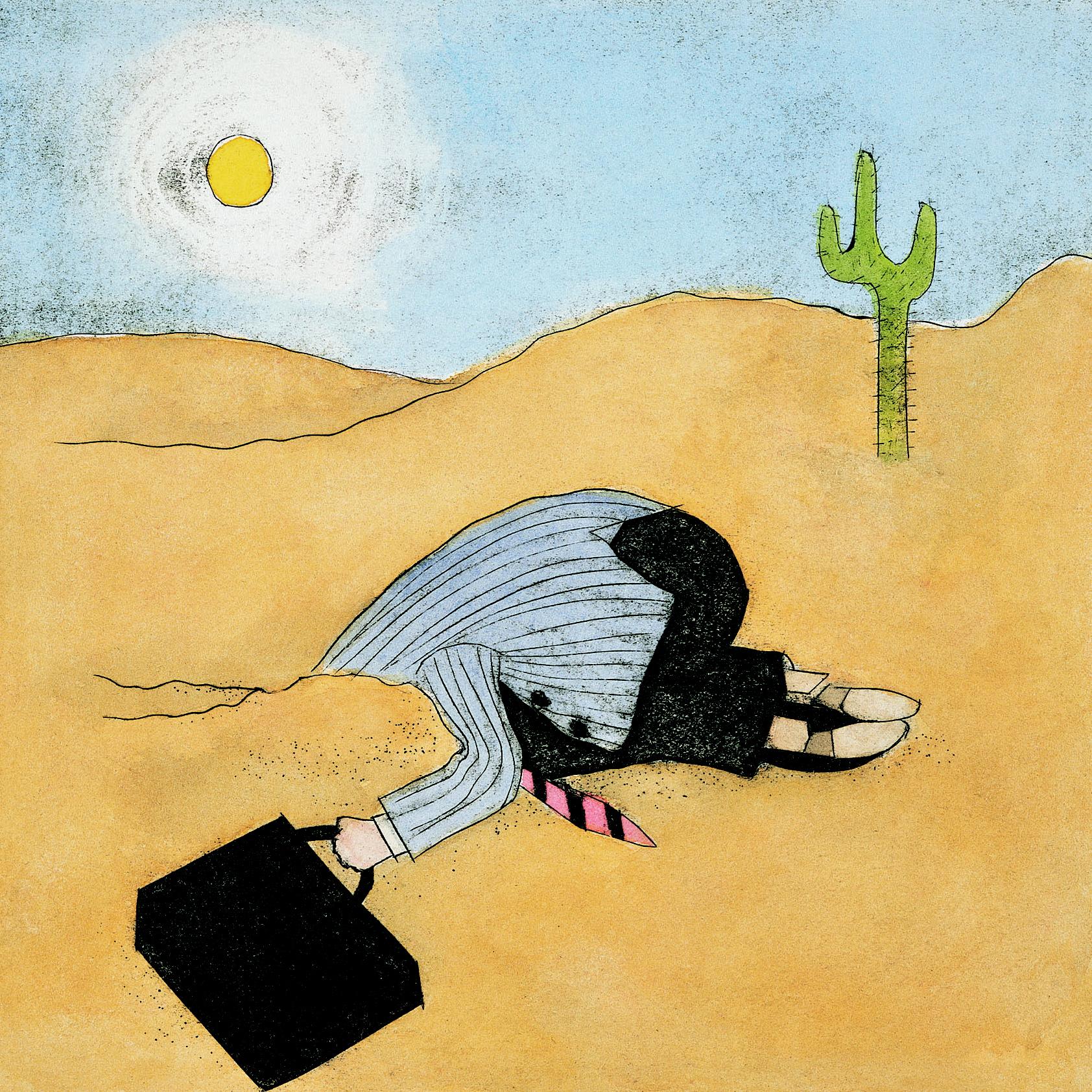Met het hoofd in het zand, als metafoor voor niet bewust kiezen voor intern of extern faciliteren