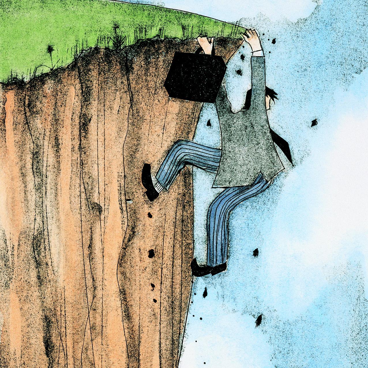 Een adviseur die van de klif dreigt te vallen omdat hij foute metaforen gebruikt