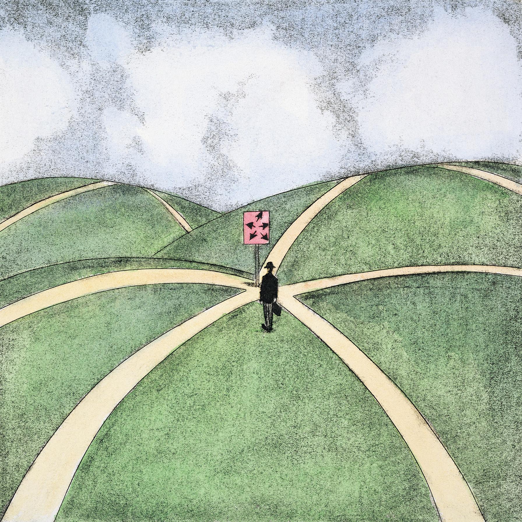 Een mens op een kruispunt van wegen, hoe kies je de juiste weg?