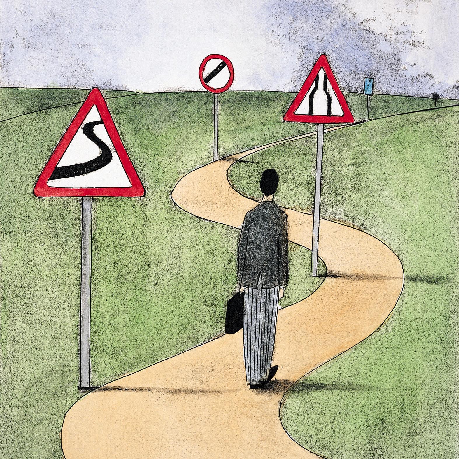 Een weg met verkeersborden waarlangs de persoon moet om de vragen van de teamtest te beantwoorden