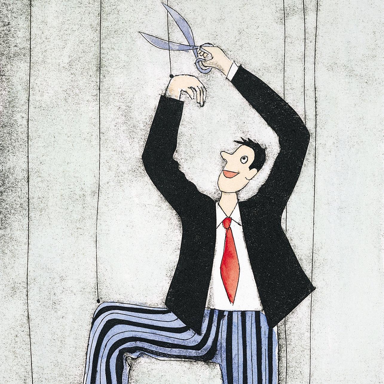 Een marionet knipt de draden door, wil niet doen wat opgedragen is maar de eigen weg gaan