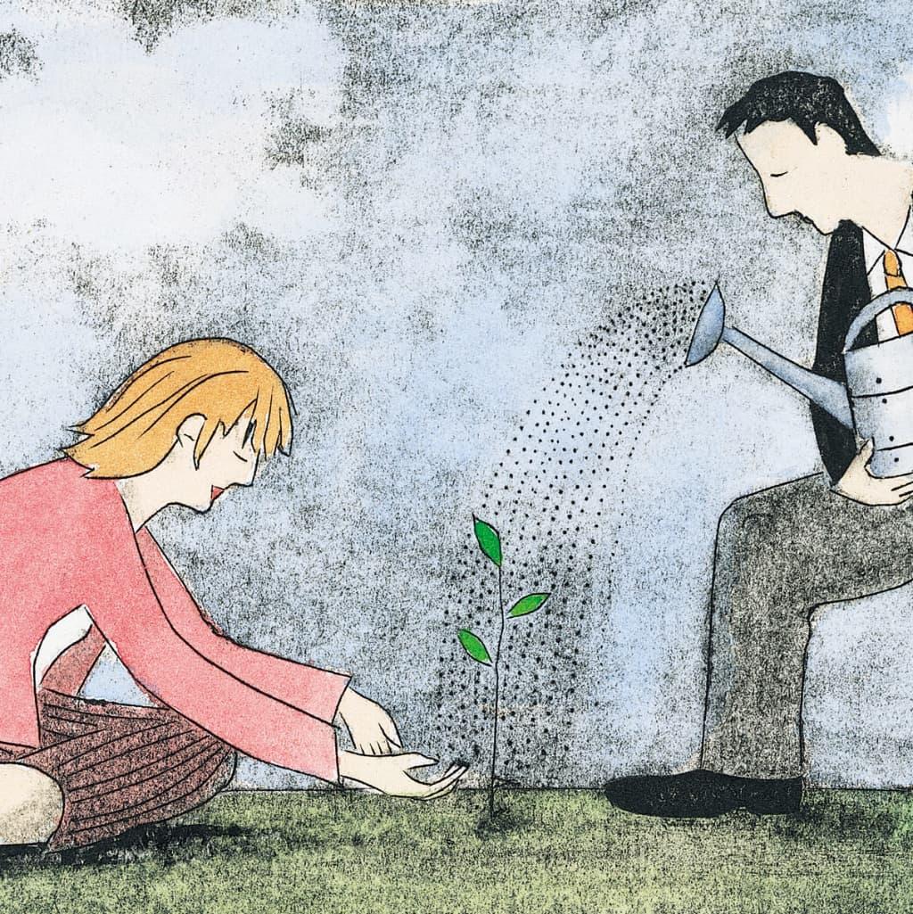 Teamcoaches die plantjes water geven en goed verzorgen