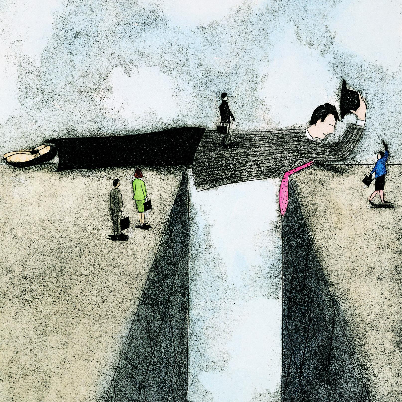 Een brug die symbolisch aangeeft dat team development nodig is om aan de andere kant te komen