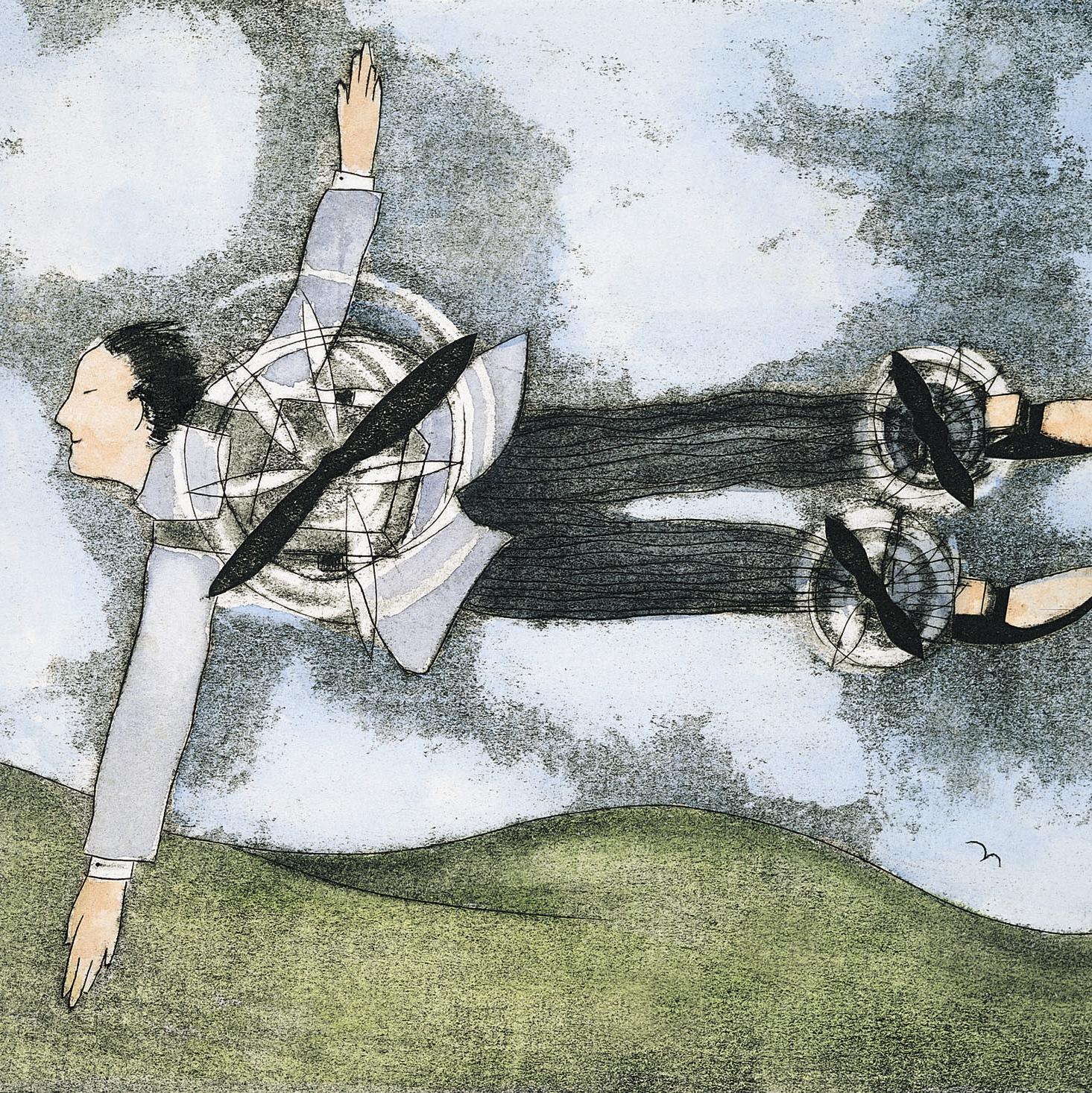 Iemand met een motortje op de rug zweeft boven het landschap als metafoor voor organisatieadvies