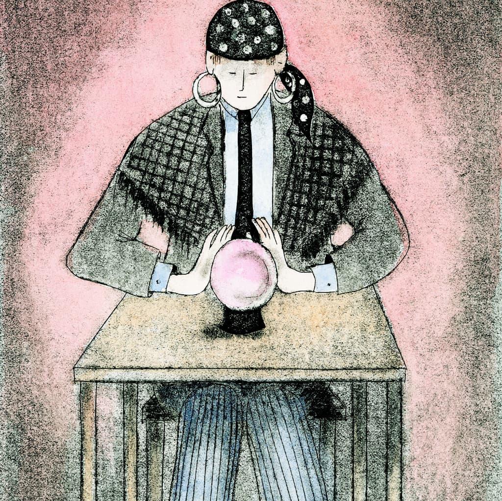 Iemand kijkt in een glazen bol, symbolisch voor de coach die je verder helpt in je werk