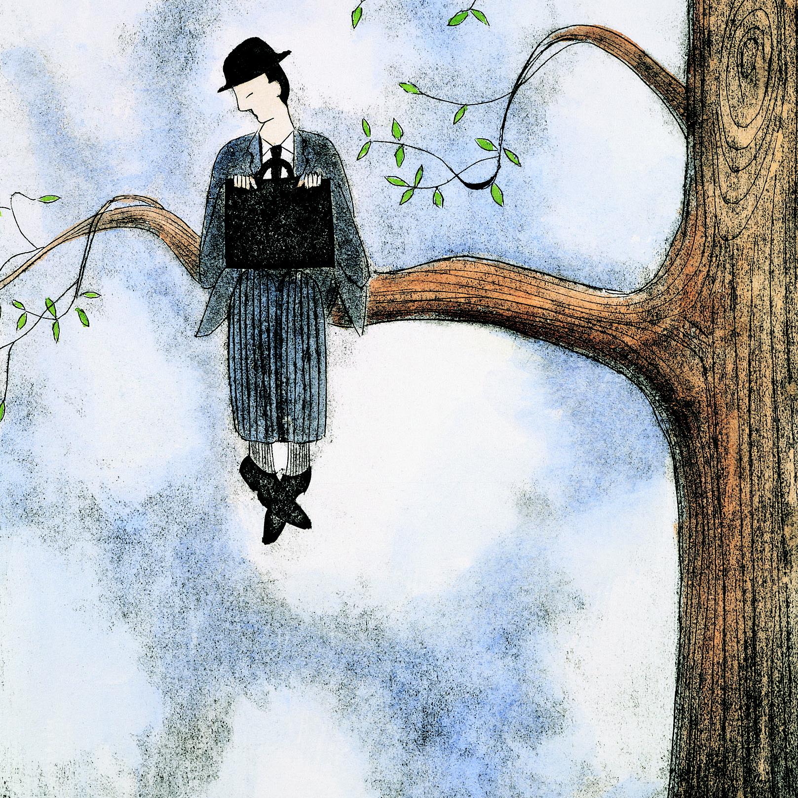 De ervaren mentor kijkt wijs als een uil op een tak naar de high potential die hij steunt