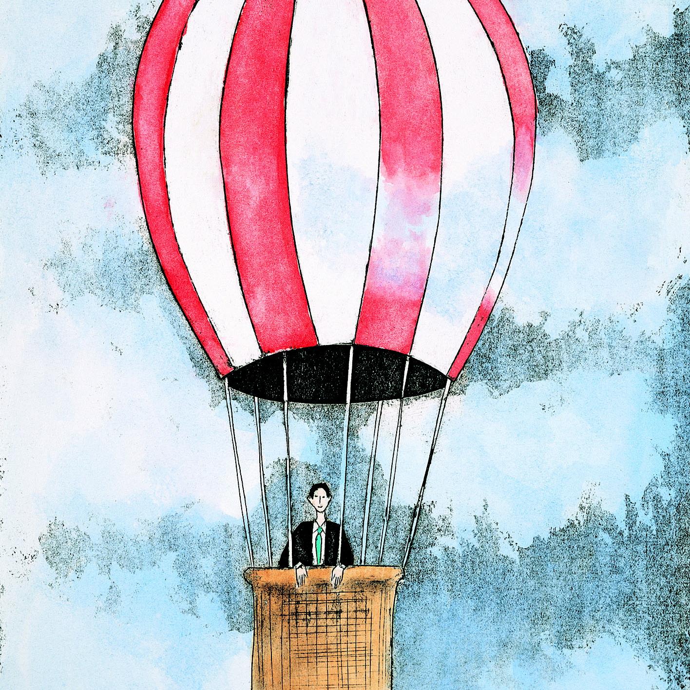 Een persoon in een luchtballon als een metafoor voor iemand met visie