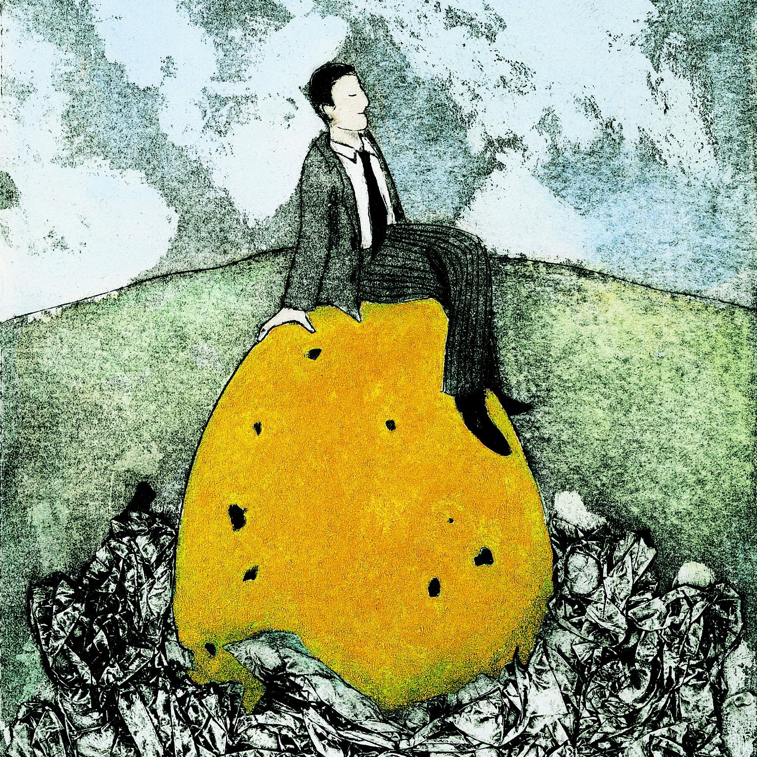 Een leider denkt rustig na op een berg in een wijds landschap