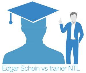 Een tekening van professor Edgar Schein tegenover een trainer van NTL