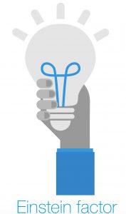 Een lampje als symbool voor de Einstein Factor, de titel van het boek van Win Wenger