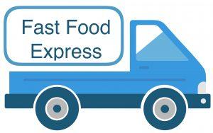 Een auto van de fast food express