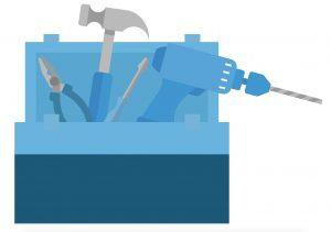 Symbolische goed gevulde toolbox voor een managementteam