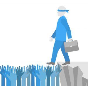 Man met blinddoek stapt over de rand, kan hij vertrouwen dat collega's hem opvangen